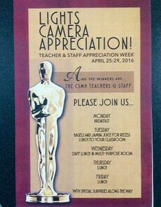So many great ideas for a Hollywood Theme and Star Treatment Teacher Appreciation Week