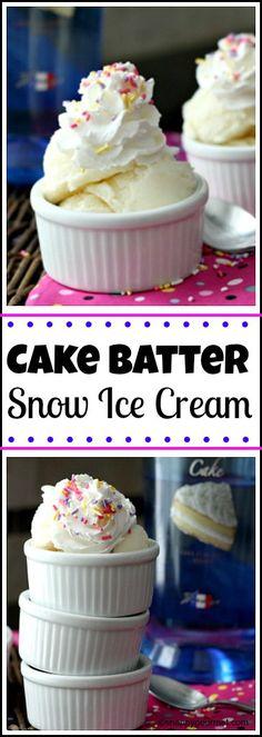 Easy Cake Batter Snow Ice Cream recipe - How to make homemade snow ice cream | snappygourmet.com