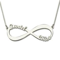 afee5ff56f Personalized Infinity Necklace Two Name Necklace Silver Gift