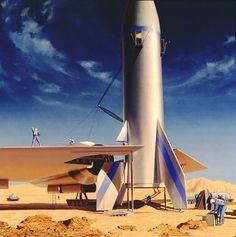Bonestell - Home Retro Rocket, Classic Sci Fi, Retro Futuristic, Science Fiction Art, Sci Fi Fantasy, Sci Fi Art, Land Scape, Filmmaking, Concept Art