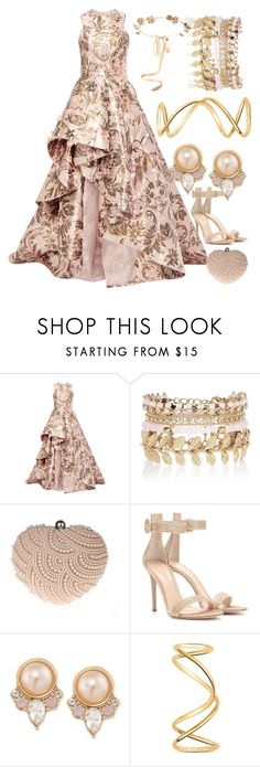 """Creme Prom"" by egordon2 ❤ liked on Polyvore featuring Monique Lhuillier, River Island, Glam Cham, Gianvito Rossi, Carolee, Maison Margiela, Eugenia Kim, Prom, formal and cream"