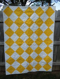 Yellow and White Baby/Toddler Quilt by MollyRoseQuilts on Etsy, $75.00