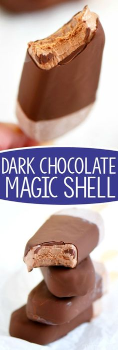 Two ingredient Dark Chocolate Magic Shell! Now you can add a rich, chocolate coating to any frozen dessert!