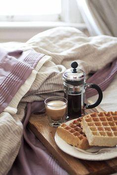 Breakfast in bed. French Press Coffee. Waffles//