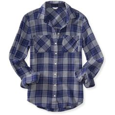 Aeropostale Long Sleeve Plaid Woven Shirt ($6.99) ❤ liked on Polyvore