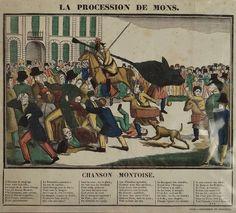 Litho couleur. La procession de Mons. Imprimerie De Blocquel à Lille 19eS.