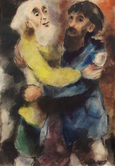 Brasse-Forstmann, Alice  Zwei bärtige Männer (Biblische Szene), 1920.