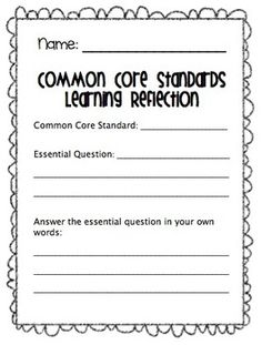 Common Core Student Portfolio and Reflection! Great for having the students track their own data!