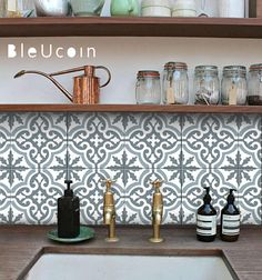 Moroccan Blue Dusk Tile Stickers Kitchen And Bathroom Backsplash Tile Decal Stair Riser Stickers Peel And Stick Home Pack Of 44 8 Quot X 8 Quot Inches Bathroom Tile Stickers, Tile Decals, Wall Stickers Murals, Stair Stickers, Wall Decal, Kitchen Colors, Kitchen Backsplash, Kitchen Decor, Kitchen Wall Tiles