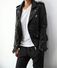 Black biker, white t-shirt & tracksuit bottoms