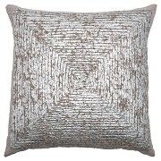 """Rizzy Home Cotton with Metallic Printed Pillow - Silver/Grey (20""""x20"""")"""