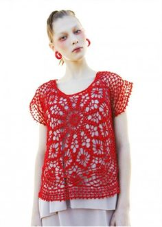 Trying to find ideas for this adorable red crochet top my MIL got me. This idea - over a neutral colored dress. Clever!