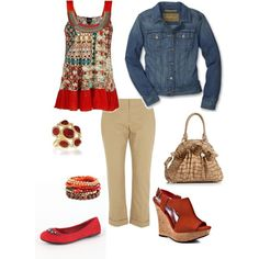 """Red and Khaki Cuteness"" by tammietoo2 on Polyvore"