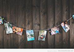Ideas para decorar una boda DIy y barata con un tendedero lleno de fotos