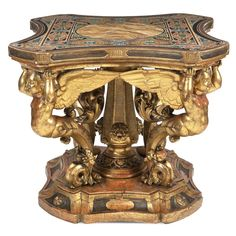 , scagliola shaped top simulating polichrome mables supported by four wood elements, gadrooned base with reserves and vegetal patterns Genoa, Center Table, 19th Century, Centre, Lion Sculpture, Auction, Italy, Shapes, Statue