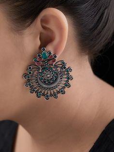 Pre-owned Sterling Silber Schmuck Indian Jewelry Earrings, Jewelry Design Earrings, Silver Jewellery Indian, Ear Jewelry, Silver Earrings, Silver Jewelry, Silver Ring, Flower Jewelry, Silver Necklaces