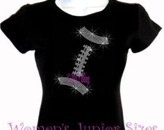 Football - Lace Outline - Iron on Rhinestone T-Shirt - Bling Hot Fix Sports Mom Transfer Shirt Top