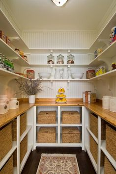 Pantry with shiplap walls and seagrass baskets under the counter for storage