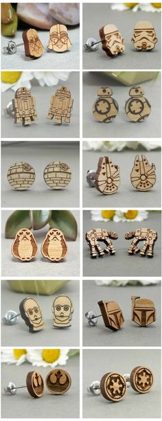 Star Wars inspired wood engraved earrings. I want the whole collection. #ad #starwars #earring #wood #engraved #geek #giftideas #giftforher #darthvader #stormtrooper #r2d2 #bb8 #deathstar #milleniumfalcon #porg #atat #c3po #bobafett #rebelalliancesymbol #galacticempiresymbol