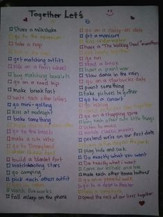 55 activities to do with your boyfriend/girlfriend <3