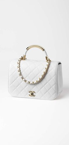 Chanel white + gold quilted flap bag