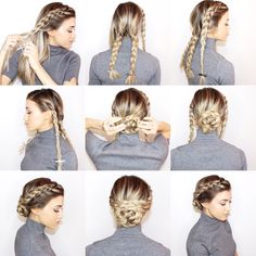 Check out our collection of easy hairstyles step by step diy. You will get hairstyles step by step tutorials, easy hairstyles quick lazy girl hair hacks, e Easy Work Hairstyles, Braided Bun Hairstyles, Braided Updo, Braided Hairstyles, Easy Hairstyle, Pretty Hairstyles, Formal Hairstyles, Fashion Hairstyles, Hairstyle Ideas