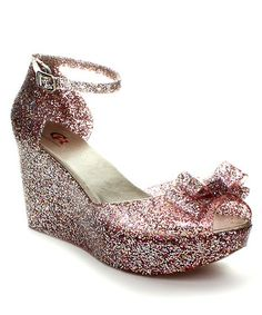 Love this Light Gold & Pink Perla Wedge Peep-Toe Sandal by Cape Robbin Collection on #zulily! #zulilyfinds