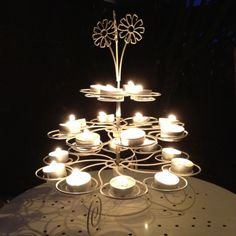 Cupcake stand as a candle holder! Fab last minute outdoor lighting ideal for bbq!