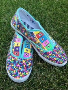 Geometric Hand Painted Canvas Shoes by YourUniqueSole on Etsy, $45.00