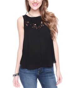 Look at this Black Lace-Accent Tank by Buy in America Lace Detail, Braided Hairstyles, That Look, Tank Tops, Fabric, Stuff To Buy, Clothes, Black, America