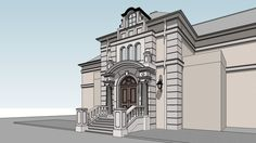 Large preview of 3D Model of villa entrance