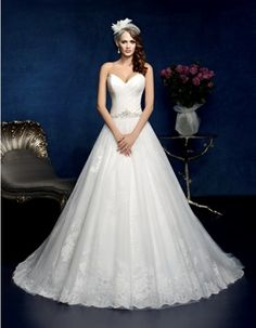 Cheap bridal gown lace, Buy Quality gown lace directly from China bridal gown Suppliers: 2015 Elegant Wedding Dresses A Line Sweetheart Vestidos De Novia White Organza Appliques Bridal Gowns Lacing Up Wedding Skirt, Wedding Dresses 2014, Wedding Dresses Plus Size, Elegant Wedding Dress, Bridal Dresses, Wedding Gowns, Wedding Bells, Bridal Gown Styles, Wedding Styles