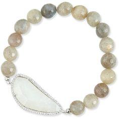 Tai 8mm Labradorite Beaded Bracelet ($120) ❤ liked on Polyvore featuring jewelry, bracelets, multi colors, bracelet bangle, beaded stretch bracelet, beaded jewelry, braided bracelet and braided cord bracelet