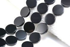 black onyx, flat coin bead, black coin bead, natural onyx bead, black stone bead, agate bead, jewelry making, loose bead, supplies--15 inch