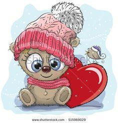 Cute Cartoon Teddy bear in a knitted cap and a heart