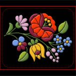 Authentic embroidery design from Hungary. The art of Kalocsa Embroidery was born in the second half of the 19th century. Originally the needlework was only white and the embroidery patterns were merely made up by holes. At the end of the 19th century, the art of Kalocsa embroidery went through creative innovations, and become more and more colourful. The colour of the traditional costumes, dresses changed with the person's age who was wearing that. The most colourful Hungarian Embroidery ...