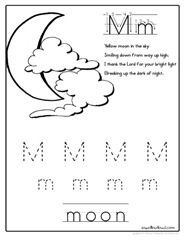 Letter M is for Moon poem and handwriting sheet