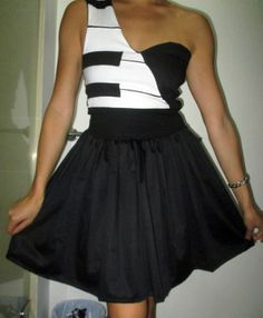 Homemade black & white piano dress!  Designed and made by Samantha Heather.