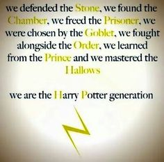 We are the Harry Potter generation