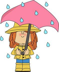 Girl under umbrella in the rain.