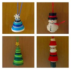 Christmas Button Crafts, Christmas Buttons, Christmas Ornament Crafts, Christmas Crafts For Kids, Christmas Projects, Handmade Christmas, Christmas Tree Decorations, Christmas Fun, Holiday Crafts