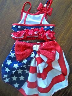 Red White And Blue Swimsuit Pageant Wear For Little Girls Pinterest