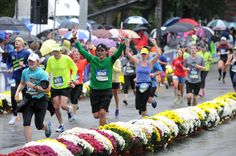 Runners near the finish line of the half marathon of the Hartford Marathon Saturday.