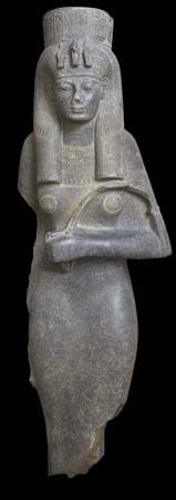 Statue of Queen Tiye. Her mother, Thuya, was a commoner, but bore many titles, including Singer of Hathor and Chief of the Entertainers. Black granite , height 190cm, New Kingdom, Dynasty 18, reign of Amenhotep III.