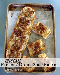 Cheesy French onion soup bread with STAR Olive Oil!  Recipe at shakentogetherlife.com