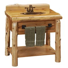 This Fireside Log Cedar Log Open Vanity can be found in our log furniture catalogs as well as  other fine American made rustic furniture pieces.