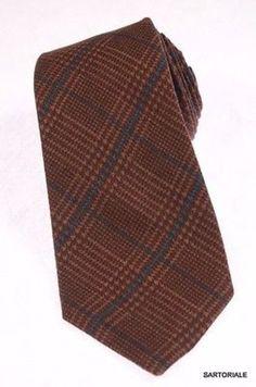 KITON Napoli Hand-Made Seven Fold Brown Wool-Silk Plaid Tie NEW