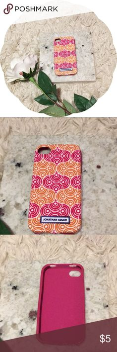 Jonathan Adler IPhone 5 Case This Jonathan Adler Case has a fun orange and pink geometric design. It is in practically new condition and fits IPhone 5. Jonathan Adler Accessories Phone Cases