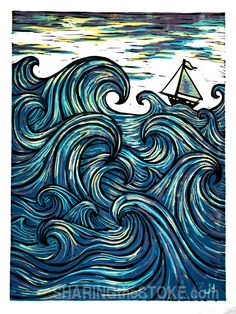 Eye Of The Wind  reduction block print limited edition of 5 by SHARINGtheSTOKE -joe hodnicki- on Etsy, $250.00