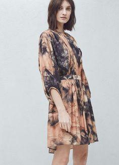 Printed pleated dress | MANGO